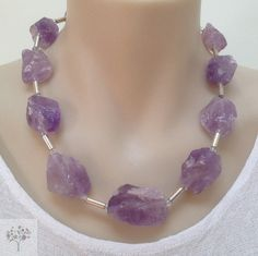 Raw Amethyst Gemstones Statement Necklace Rough Quartz Stone Beads Sterling Silver Spacer Tubes and Clasp FREE GIFT