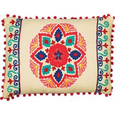 Featuring pom-pom accents and a colorful floral print, this lovely pillow lends a pop of pattern to your living room or guest suite.P...