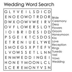Wedding word search