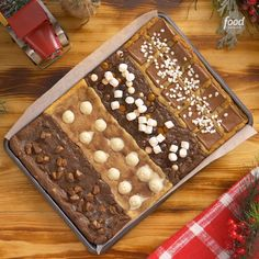 Sheet Pan Holiday Cookie This holiday sheet pan cookie has FOUR different flavors in one and we're loving it! Sponsored by holiday sheet pan cookie has FOUR different flavors in one and we're loving it! Sponsored by Holiday Cookies, Holiday Baking, Christmas Desserts, Christmas Baking, Holiday Treats, Holiday Recipes, Holiday Gifts, Cookie Recipes, Dessert Recipes