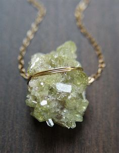 Peridot Crystal Necklace   14k Gold  Green Mineral by friedasophie, $65.00