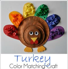 I just think it's so adorable and I know you'll have fun making her Turkey Color Matching Craft with your kiddos or grand babies...