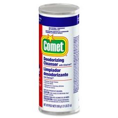 Comet powder cleanser with bleach clings to vertical and hard-to-reach surfaces, bleaches tough stains and removes soap scum.