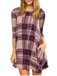 #Gamiss - #Gamiss Plaid Pattern Round Neck Dress - AdoreWe.com