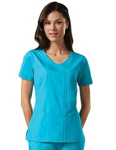 This Cherokee mock wrap scrub uniform with a v-neck asymmetrical cut accentuated and has two rows of bias binding down the left front is available in 10 solid colors. Med Couture Scrubs, Scrubs Outfit, Scrubs Uniform, Ralph Lauren Slim Fit, Backless Top, Scrub Pants, Scrub Tops, Work Wardrobe, Betsey Johnson