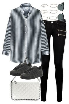 """Untitled #3325"" by plainly-marie ❤ liked on Polyvore featuring Paige Denim, Iris & Ink, STELLA McCARTNEY, adidas, Forever 21 and Ray-Ban"