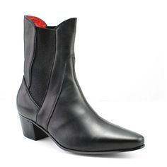 4c823ad34 High Point Black Calf Cuban Heel Boots, Beatle Boots, High Point, Italian  Leather