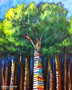 Un bosque de libros (ilustración de Alireza Darvish)