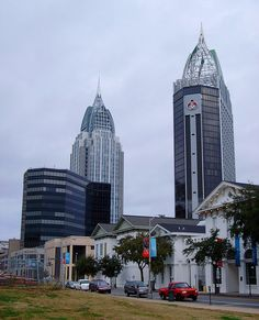 Downtown Mobile, Alabama - As seen from the area in front of the old Mobile, Alabama City Hall