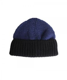 D&Y Men's Two Tone Knit Beanie With Contrast Cuff Hat
