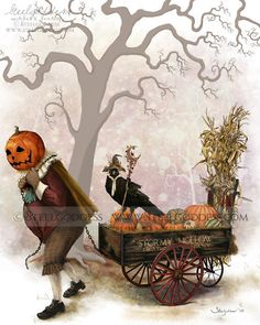 """Halloween, All Hallows Eve, Trick or Treat, Witch, Goblin, Ghost, Black Cat, Bat, Skull, Ghouls, Scarecrow, Grim Reaper, Cobwebs, Jack-O-Lantern, Pumpkin, Spooky, Scary, Haunting, Creepy, Frightening, Full Moon, Autumn, Fall, Magic Potion, Spells, Magic, Haunted - """"Steelgodess"""" Illustrator"""