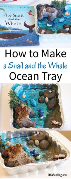 Make a Snail and the Whale Ocean Tray. Read the story of The Snail and the Whale - then make a small world of the story. This is an easy and fun creative play idea your kids will love. Ocean Activities, Toddler Activities, Activities For Kids, Nursery Activities, Scout Activities, Reggio Emilia, Snail And The Whale, Story Sack, Small World Play