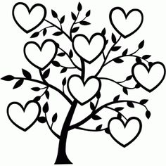 Silhouette Design Store: 8 heart family tree