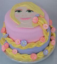 Tangled themed Repunzel Birthday Cake with fondant braid.