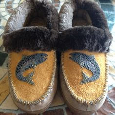 Fish Slippers with Sheared Beaver Trim by Alaska Beadwork