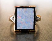 Antique Art Deco Diamond Opal and Onyx Ring