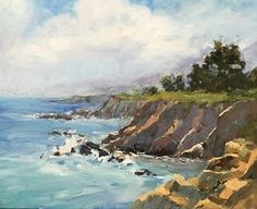 California Coast by Janette Jones Oil ~ 20 x 24 California Art, Coast, Sea, Water, Outdoor, The Beach, Artists, Gripe Water, Outdoors