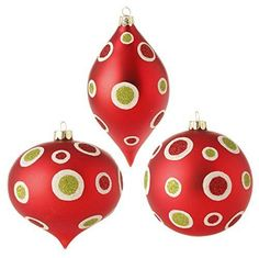 "RAZ Imports - 4"" Glittered Dot Ornaments - Set of 3 – PerfectlyFestive.com"