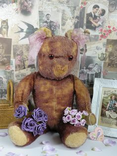 Amethyst in all her bearness!! a mauve coloured 1950s bear possibly German   www.onceuponatimebears.co.uk