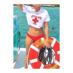 Rotita Round Neck Crop Top and Red Panty Swimwear ($17) ❤ liked on Polyvore featuring swimwear, bikinis, white, red bikini, red swimwear, 2 piece swimwear, white bikini and two piece swimwear