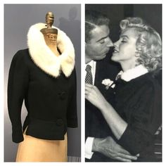BULLOCK'S WESTWOOD COLLEGIENNE 1950's Vlv Vintage 1950s Hand-Tailored 3/4 Sleeve Textured Black Wool Jacket Top w/ White Mink Fur Collar S M by ChickaBoomVintage on Etsy