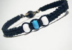 Custom Hemp Bracelet for men with glass beads #hemp #macrame #black #men #him #gift #glass #beads #beaded