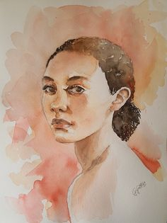 Watercolour portrait study by Giulia Gatti Watercolor Portraits, Watercolor Paintings, Damask Rose, Gray Eyes, Red Earrings, Watercolor And Ink, Watercolors, Study, Gallery