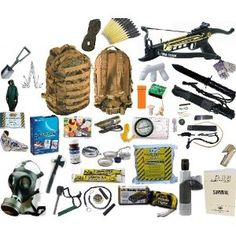 Survival Kit - CMM Survival Tactical 1 Person Bug Out Bag w/ Crossbow & Gas Mask - buy a kit?  I don't know.