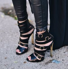 Strappy black leather sandals