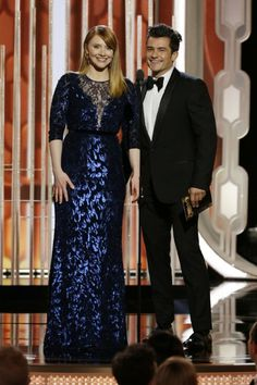 Orlando Bloom and Bryce Dallas Howard at event of 73rd Golden Globe Awards (2016)