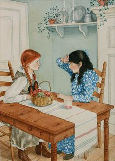 Anne of Green Gables signed giclee print. Anne and Diana drinking Raspberry Cordial. Anne Shirley, Principe William Y Kate, Illustration Noel, Art Illustrations, Anne With An E, Kindred Spirits, Fanart, Anime, Artsy