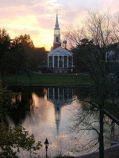 Wheaton College, Norton, MA. Cole Chapel reflected in Peacock Pond.