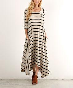 Look what I found on #zulily! J-Mode USA Los Angeles Beige & Black Stripe Handkerchief Maxi Dress - Plus by J-Mode USA Los Angeles #zulilyfinds