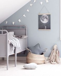 // THIS is a sheepish re-post for the super talented who was kind enough to send us this stunning bit of Scandi Kid's Room inspo + we shat on it with our bad cropping. Sorry Emily, we LOVE LOVE LOVE your work! And think you are so talented :) Team DS. Deco Kids, Grey Room, Grey Blue Nursery, Blue Grey, Kids Decor, Home Decor, Little Girl Rooms, Nursery Inspiration, Kid Spaces