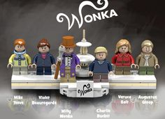 Willy Wonka And The Chocolate Factory Charlie And The Chocolate Factory Crafts, Wonka Chocolate Factory, Lego Tv, Tim Burton Films, Lego Figures, Cool Lego Creations, Lego Projects, Willy Wonka, Custom Lego