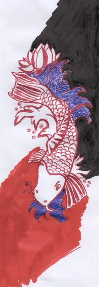 According to legend, the carp had to reach the source of the river that flows through China, the Huang Ho (Yellow River), the spawning season. For this, he had to swim upstream and jump waterfalls to mountain Jishinhan. The carp from reaching the top became a dragon.