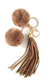 Pom Pom  Faux Rabbit Fur Leather Tassel Bag/Purse Charm Key Chain. Free shipping and guaranteed authenticity on Pom Pom  Faux Rabbit Fur Leather Tassel Bag/Purse Charm Key Chain at Tradesy. Faux Rabbit Fur Pom Pom Bag/Purse Charm Keychain w...
