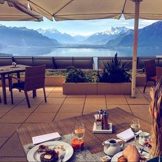 Breakfast with a view Lake Geneva, Resort Spa, Switzerland, Patio, Fresh, Breakfast, Outdoor Decor, Instagram Posts, Food