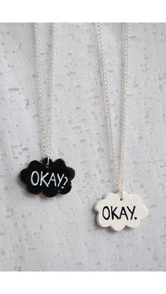 DIY Use clay paint with acrylic and paint on letters and add chain. Perfect for best friends and teens