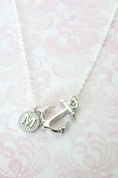 Personalized Anchor necklace  simple Sterling