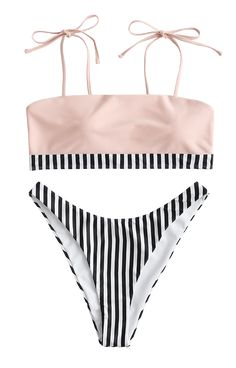Sweet, sleek, and stylish, this bikini set is a great gift for the beach trip. The bikini bra has slender shoulder straps that can be tied on your own and the striped hemline adding much chic to it. A pair of high cut briefs is included to complete the flirty look. Style: Fashion  Swimwear Type: Bikini  Gender: For Women Latest Summer Fashion, Spring Summer Fashion, Trendy Fashion, Womens Fashion, Style Fashion, High Cut Bikini, The Bikini, Bikini Tops, Bikini Set