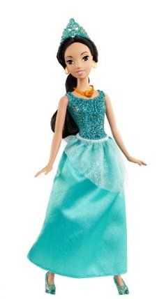 Disney Princess Sparkling Princess Jasmine Doll by Mattel. $14.79. Girls can recreate their favorite Disney fairytale moments. Gown is decorated with sparkling glitter. Dressed in her beautiful signature gown. Great addition to any girls collection. The lovely and beloved Princess Jasmine. From the Manufacturer                Disney Princess Sparkling Princess Collection: The beloved princesses from girls' favorite Disney fairytales look as enchanting as ever in their sparkle ba...