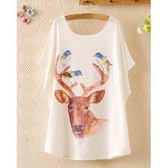 $13.86 Bird Print Sweet Scoop Neck Deer Pattern Batwing Sleeve Women's T-Shirt