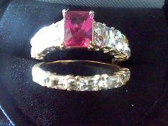 RUBY & LCS DIAMOND EMERALD CUT WEDDING ENGAGEMENT RING SET sz 6 SZ 7 SZ 8 SZ 9  #EXCEPTIONALBUY #SolitairewithAccents