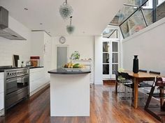 Kitchen Rear Extension - add light with roofed windows and french doors from living room. Love the roofed glass style here and doors from living room. Decor, Kitchen Corner, House, Home, New Homes, Rear Extension, House Interior, Home Kitchens, Kitchen Design