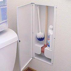 In-wall, between stud storage for small bathroom items. Because no one likes to see them. BRILLIANT. — with Sabrina Jordan.