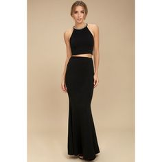 Lulus Shining Example Black Rhinestone Two-Piece Maxi Dress ($74) ❤ liked on Polyvore featuring dresses, gowns, black, halter-neck crop tops, 2 piece dress, halter tops, halter gown and two piece dresses