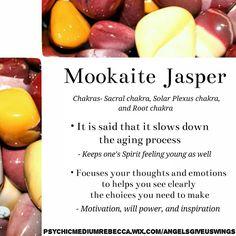 Mookaite Jasper crystal meaning Mookaite Jasper crystal meaning Crystals Minerals, Rocks And Minerals, Crystals And Gemstones, Stones And Crystals, Gem Stones, Crystal Uses, Crystal Magic, Altar, Crystal Meanings