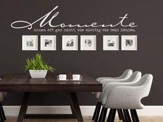 Wandtattoos mit Bilderrahmen kombinieren - Ideen und Tipps. Wandtattoo Spruch Momente ahnen oft gar nicht, wie wichtig sie sein können… mit quadratischen Rahmen