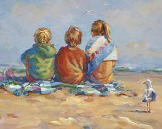 SUMMERS END Three children sitting on the beach Canvas giclee signd by artist Lucelle Raad Beach Kids, Beach Art, Beach Babies, Beach Drawing, Beach Canvas, Painting People, Am Meer, Beach Scenes, Golden Girls